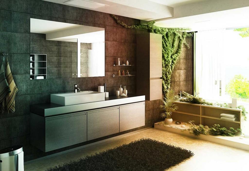 Cool Zen Bathroom Forest Atmosphere by Bizkitfan