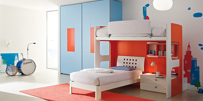 Cozy Blue Orange Bed Room with Mini Bookcase and Drum Sets