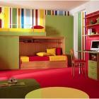 Dominant Red Color Kids Room Design Ideas