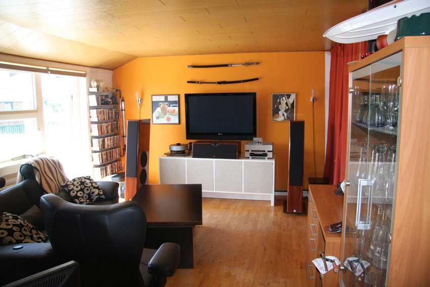 Drawing Orange living Room Tv Setup - Interior Design Ideas