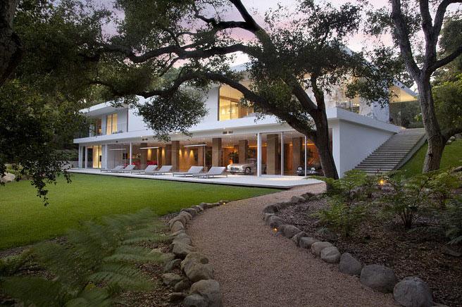 Driveway Access to Open House Design Glass Pavilion