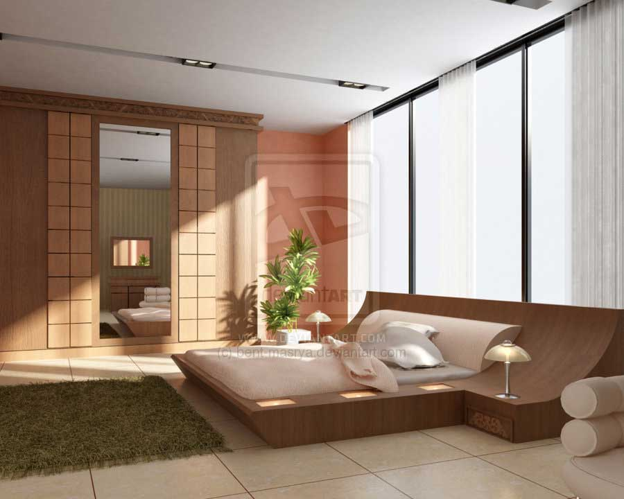 Modern Bedroom Rug: Drop Dead Modern Bedroom With Wood Accent And Grass Rug By