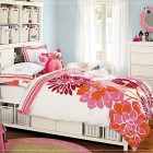 Fancy Teen Rooms for Girls with Flower Bedcover Accents