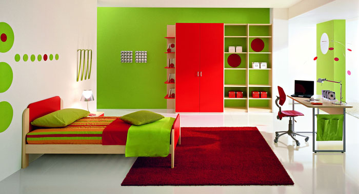 Fresh Green Boys Bedroom Ideas With Red Rug Interior