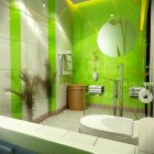 Fresh Green and White Bath by 4bed Design