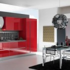 Gatto Cucine Red Kitchen Interior with Candlier and Black Rug