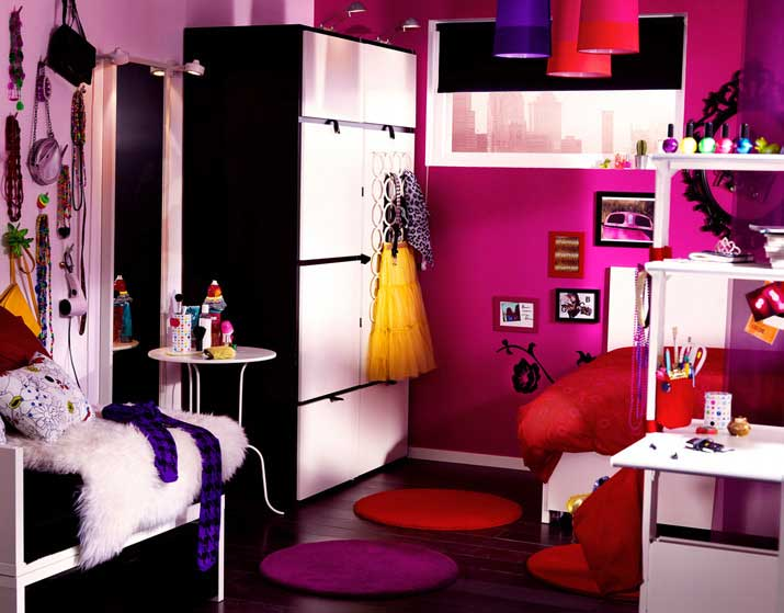 Glamours IKEA Pink Teen Room with Cricle Rug. IKEA Best Teen and Kids Room ...