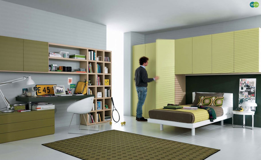 Green Cool and Contemporary Teenagers Room Design Ideas