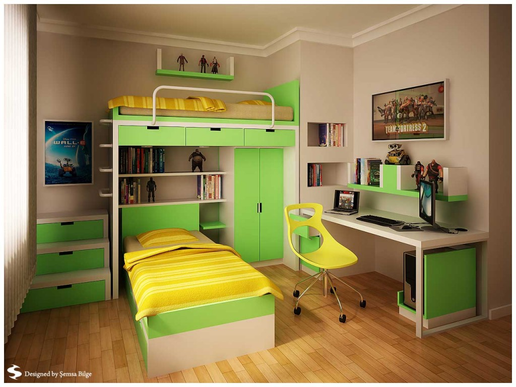 Green And Yellow With Minimalist Bookcase Teen Room By