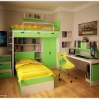 Green and Yellow with minimalist Bookcase Teen Room by Semsa
