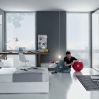Grey and White Contemporary Teenagers Room Design Ideas