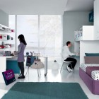 Jade Mauve White Contemporar Teenagers Room Shared Design Ideas