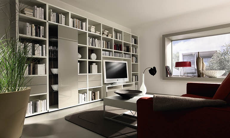 living room with white bookcase design ideas interior