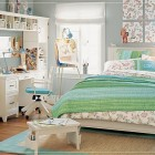 Lovely Teen Rooms for Girls with Flower Accents and Big White Bookcase