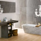 Contemporary Bathroom with Traditional and Modern Materials