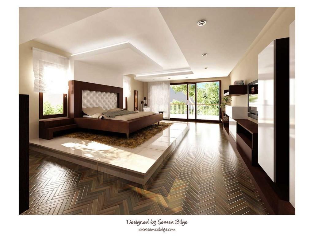 Luxury Bedroom with Herringbone Hardwood Floors