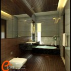 Master Bathroom with Wooden Floor by Cuanz