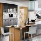 Minimalist Black Kitchen wit Wooden Furniture Set