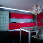 Minimalistic Kitchen with Red Cabinet by Errebi Spa