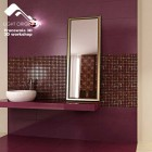 Modern Bath Textured Tiles Fuschia Walls Design Ideas