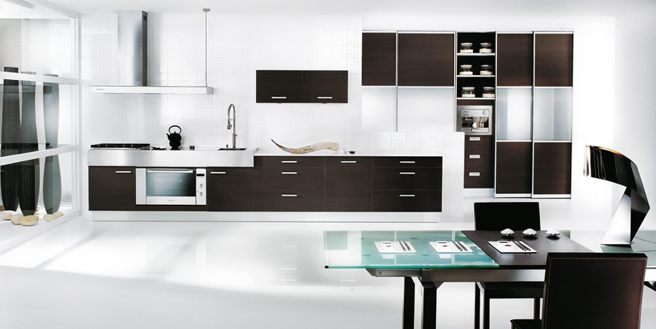 Modern black and white kitchen design interior design ideas for Black and white kitchens photos