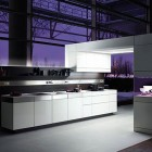 Modern German Purple Kitchen Design Lighting