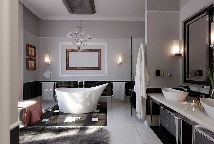 Modern Glamorous Bathroom Stainless Beautiful Chandelier with Pelage Rug