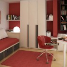 Modern Red Kids Study Room Design Ideas
