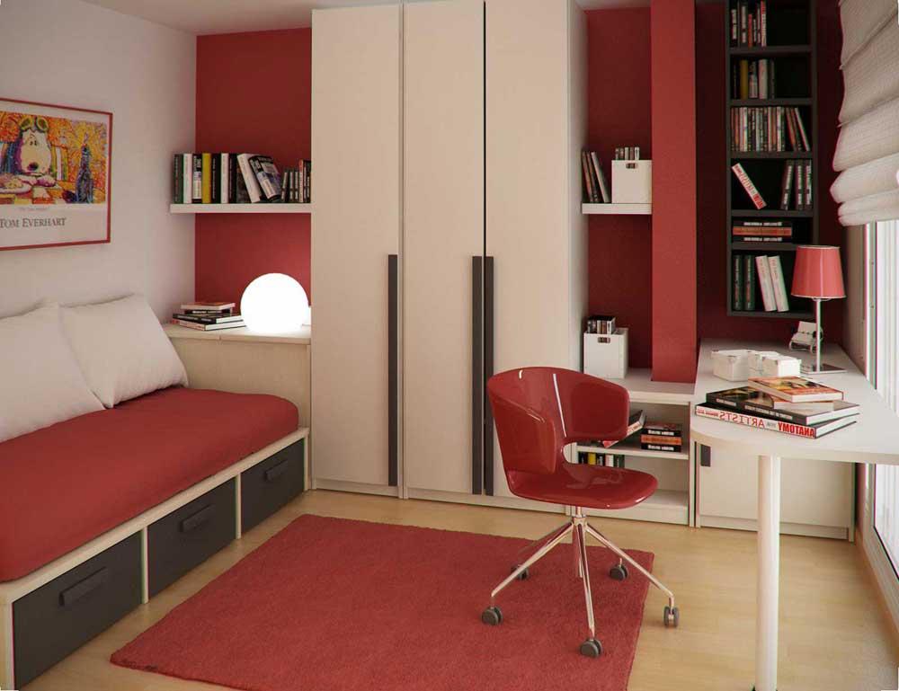 Modern Red Kids Study Room Design Ideas