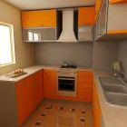 Modern Small Kitchen Orange Design