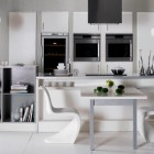 Modern White Kitchen Bookshelves for Small Space