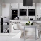Modern White Kitchen Bookshelves for Small Space