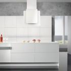 Modern White Kitchen Marble Accents