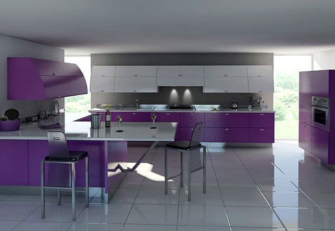 Modern White And Purple Kitchen Furniture Ideas Interior