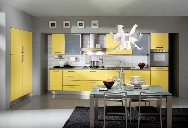 modern yellow kitchen design with unique chandelier and