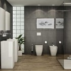 Modern and Awesome Bath Gray Stone Natural Woodfloors Design
