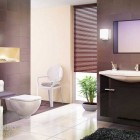 Modern and Awesome Bathroom with Brown Tiles and Black Rug