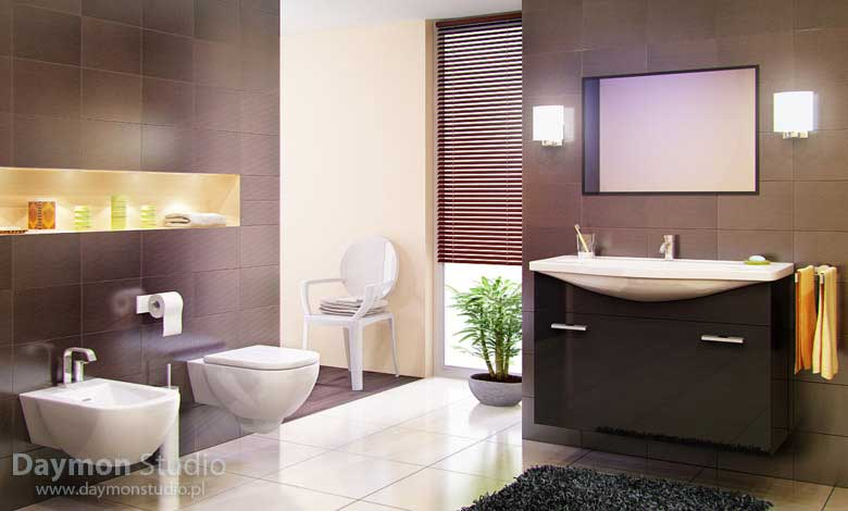 Modern and awesome bathroom with brown tiles and black rug for Black and brown bathroom ideas