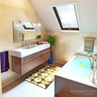Modern and Cute Bbathroom with Wood and Tile Accents