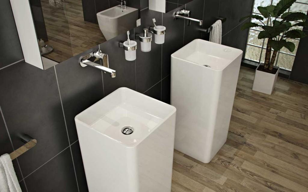 Modern and Minimalist Grey Bathroom Design Sink Pedistals