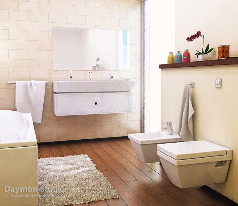 Modern and practical beige bathroom with white rug for Practical bathroom designs
