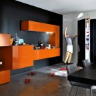 Modular Black and Orange Kitchen Design