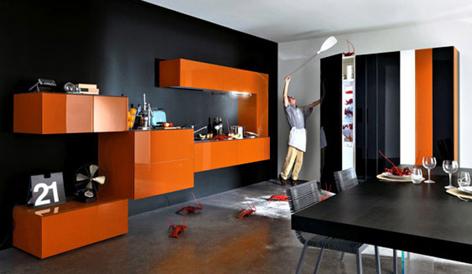 Modular Black And Orange Kitchen Design Interior Design Ideas