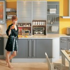 Modular Grey and Yellow Kitchen Design
