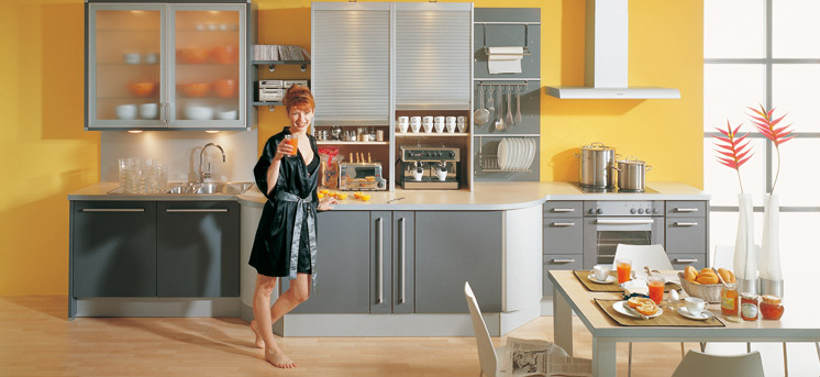 Modular grey and yellow kitchen design interior design ideas for Yellow and gray kitchen