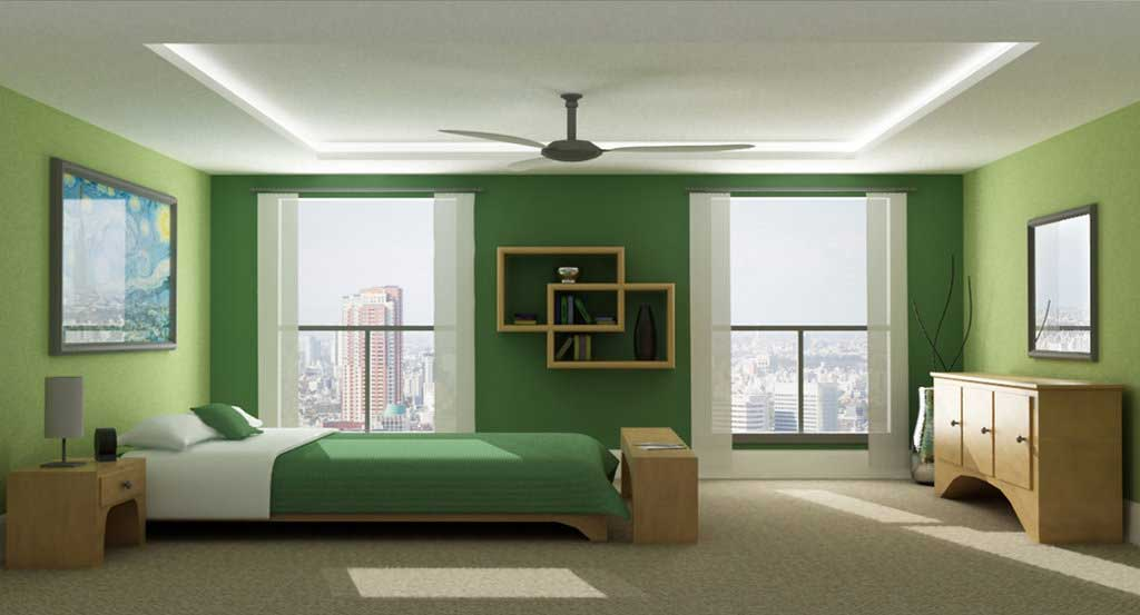 Monochromatic green bedroom by jeremy sikorski interior for Monochromatic bedroom designs