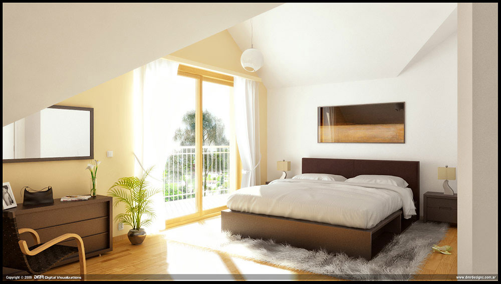 Natural Lighting Brown Bedroom Furniture Abstract Artwork ...