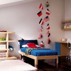 Navy Blue Bed Room with White Rug
