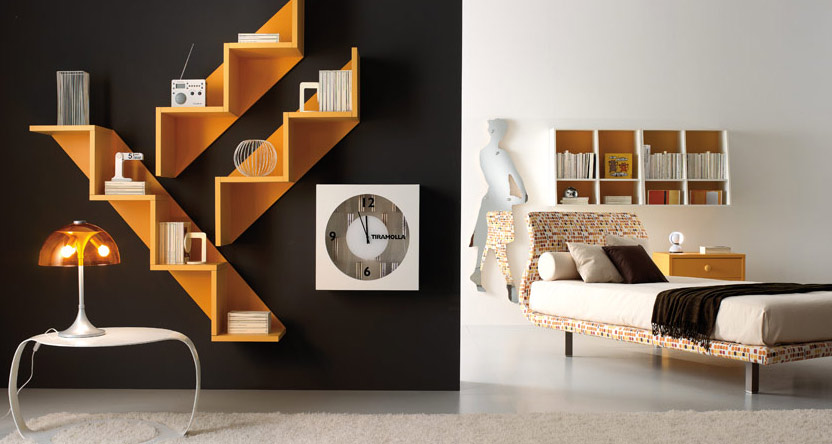 Orange and black teen room by tumide interior design ideas