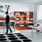 Orange and Black White Contemporary Teenagers Room Design Ideas